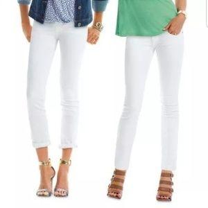 Cabi Indie Skinny Straight Jeans 6 White Denim 752